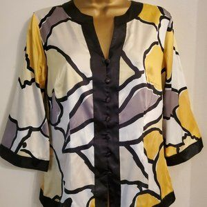 Style & Co. Womens Petite 4P Top Yellow Multicolor